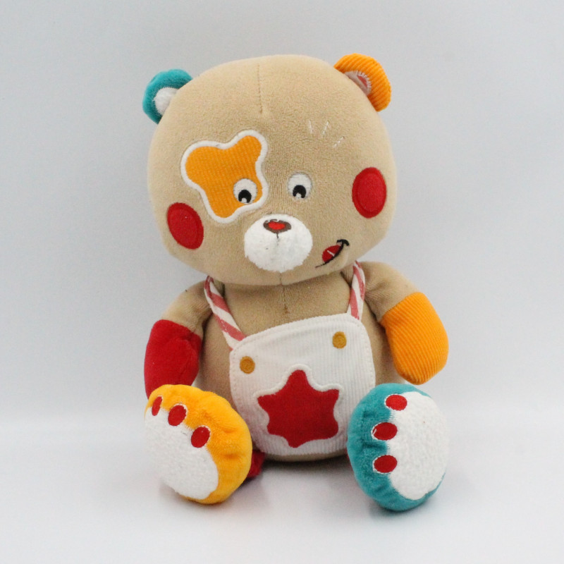 Doudou musical ours beige rouge orange BAWI