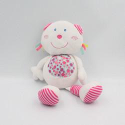 Doudou ours blanc rose bleu P'TIT BISOU AUBERT