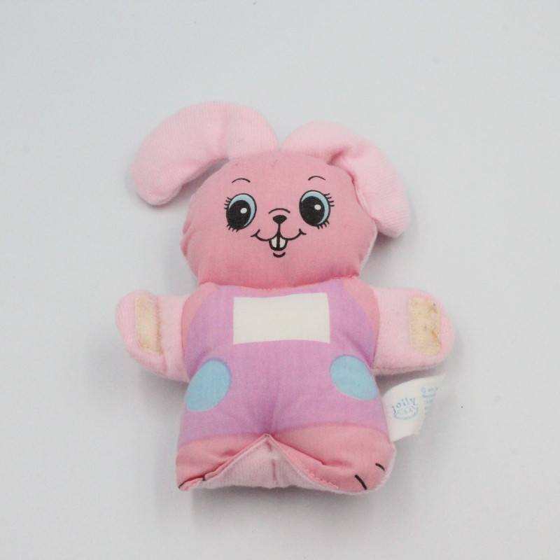 Ancienne petite peluche lapin rose JOLLY TOYS