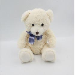 Doudou peluche ours blanc noeud carreaux SUNKID