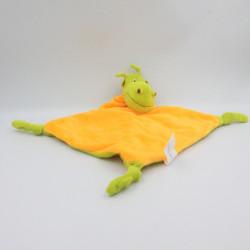 Doudou plat dragon vert orange CARRE BLANC