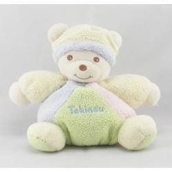 Doudou ours boule jaune rose bleu vert bonnet TAKINOU