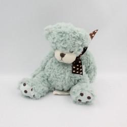 Doudou peluche ours bleu noeud marron à pois CMI
