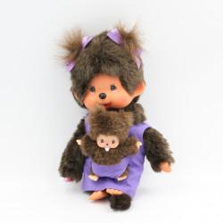 Peluche Singe Kiki Monchhichi robe violet avec bébé SEKIGUCHI