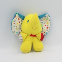 Ancien Doudou éléphant jaune bleu étoiles PLAYSKOOL