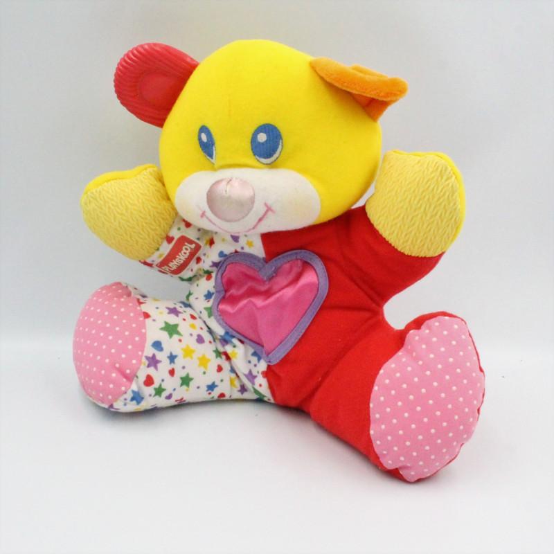 Ancien Doudou ours jaune rouge rose étoiles PLAYSKOOL Vintage