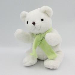Doudou ours blanc écharpe verte GINGO BILOBA