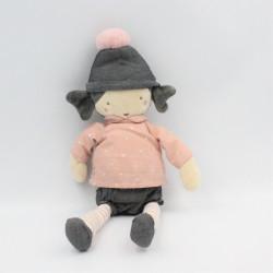 Doudou poupée rose gris étoiles bonnet