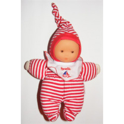 Doudou poupée bébé rayé rouge COROLLE