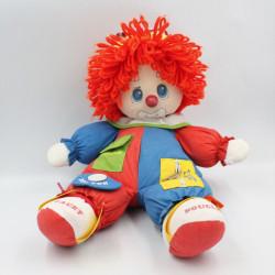 Ancienne peluche poupée clown bleu rouge jaune vert lacet boucle