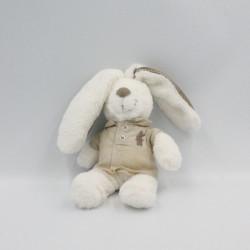 Doudou lapin blanc beige veste beige POMMETTE