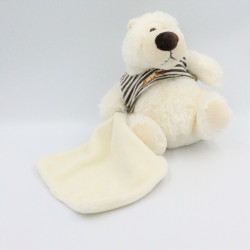 Doudou Ours blanc pull rayé...