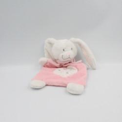 Doudou plat lapin rose blanc étoiles TEX