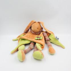 Doudou et compagnie lapin orange vert rayé la tribu des Nomades Tatoo