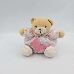 Doudou ours boule mauve rose fleurs papillon Lilirose KALOO