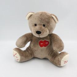 Doudou ours marron rouge coeurs NOCIBE 2018