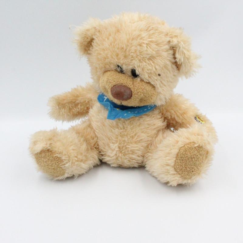 Peluche ours beige foulard bleu FIZZY