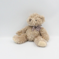 Doudou ours beige noeud carreaux