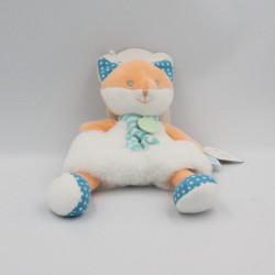 Doudou renard orange blanc bleu pois Poupi BABY NAT NEUF