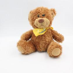 Peluche ours marron foulard jaune FIZZY