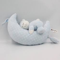 Doudou musical ours bleu blanc étoiles sur lune MAX ET SAX