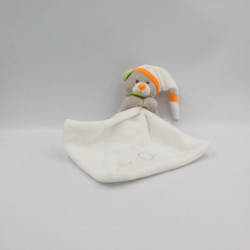 Doudou ours gris orange rayé bleu mouchoir Oscar BABY NAT