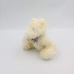Peluche ours blanc crème noeud vichy marron