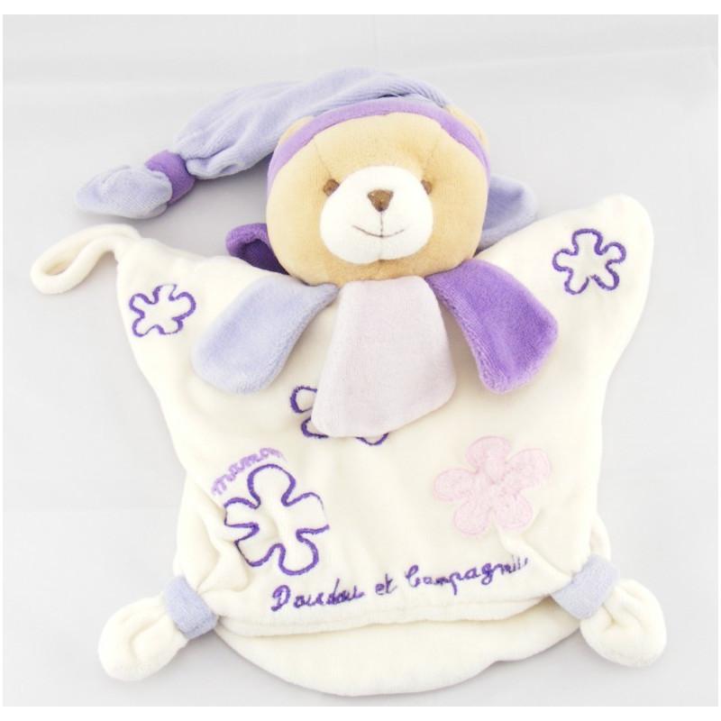 Doudou et compagnie palt ours col fleur mauve violet