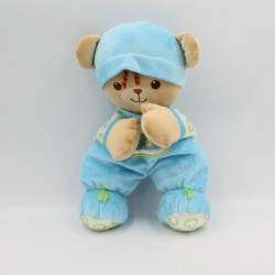 Doudou ours ourson beige bleu vert FISHER PRICE 2006