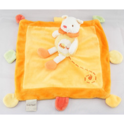 Doudou plat ours sur carré orange BABY NAT