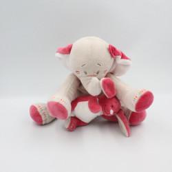 Doudou musical éléphant gris rose avec lapin Anna et Pili NOUKIE'S