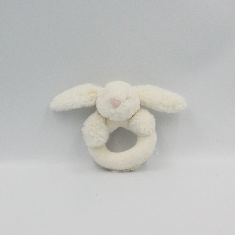 Doudou hochet lapin blanc JELLYCAT
