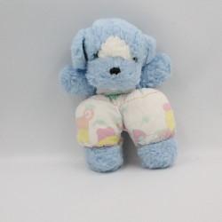 Doudou peluche chien bleu blanc fruits NOUNOURS