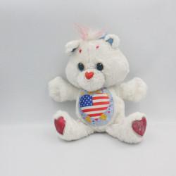 Ancienne Peluche Bisounours blanc coeur drapeau Americain CARE BEARS 1991