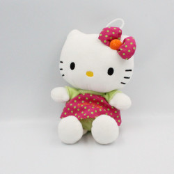 Doudou peluche chat HELLO KITTY rose vert pois SANRIO