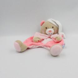 Doudou plat ours beige rose blanc étoile SUCRE D'ORGE