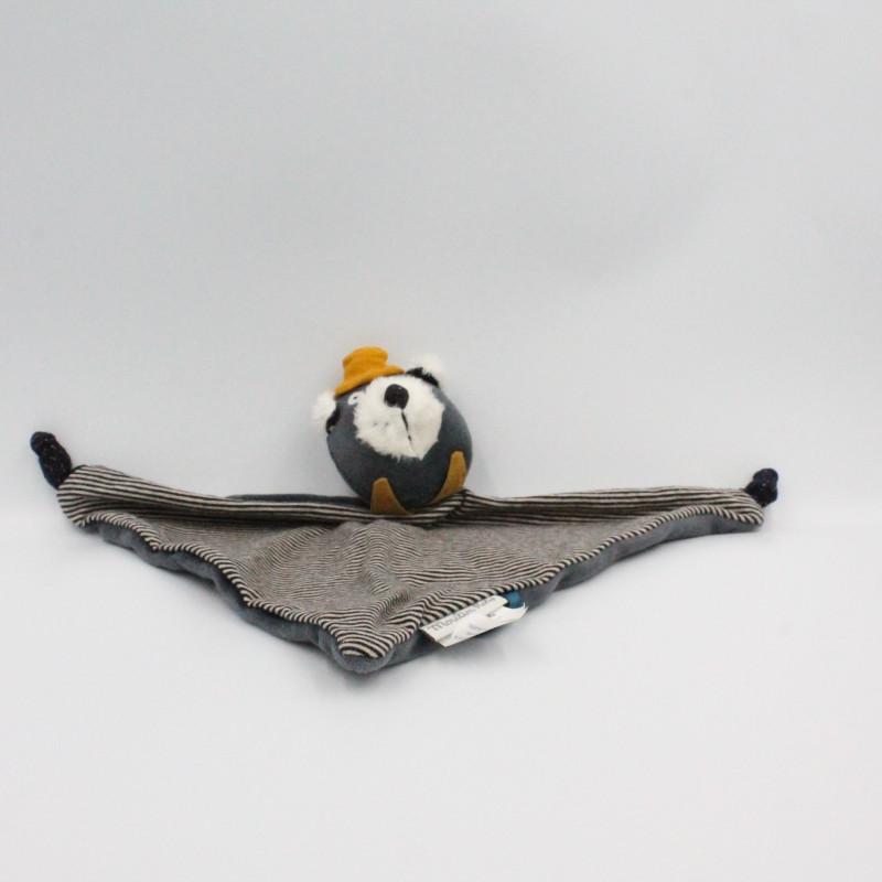 Doudou plat chat gris Alphonse Les Moustaches MOULIN ROTY