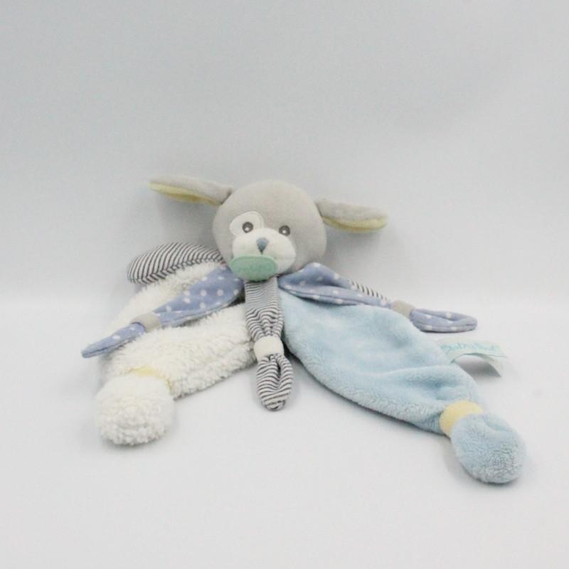Doudou plat chien gris blanc bleu jaune Poupi BABY NAT