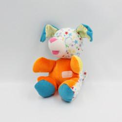 Ancien Doudou chien orange bleu jaune blanc étoiles satin PLAYSKOOL