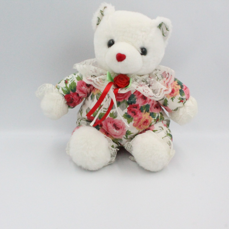Ancienne peluche ours blanc fleurs roses SPEELGOEDPALETS