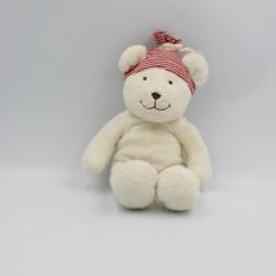 Doudou ours blanc bonnet rayé rouge PLUSHIES COLLECTION