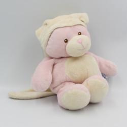 Doudou ours rose blanc bonnet GIPSY