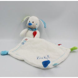 Doudou chien blanc bleu rouge vert mouchoir LIEF