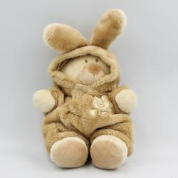 Doudou ours déguisé en lapin ecru beige NICOTOY