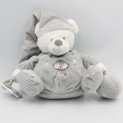 Doudou ours gris blanc rayé hochet MAX ET SAX