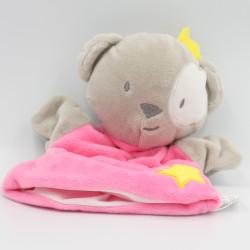 Doudou plat marionnette ours gris rose étoile jaune CMP