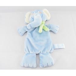 Doudou plat éléphant bleu foulard vert CHARLY ET CIE