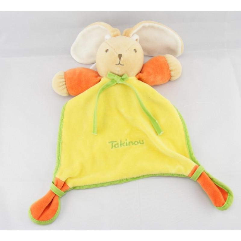 Doudou plat jaune vert orange lapin TAKINOU