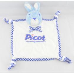 Doudou Plat carré Lapin bleu PICOT