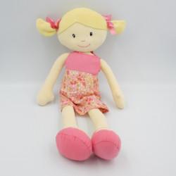 Doudou poupée rose jaune fleurs EGMONT TOYS
